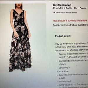 BCBGeneration Floral maxi dress size 4
